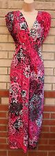 PINK LEOPARD FLORAL V NECK LYCRA LONG RARE GYPSY BOHEMIAN MAXI DRESS 14 L