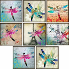 8 Paris Dragonfly Style ~ Card Making Toppers / Scrapbooking / Crafting