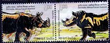 Indian & African Rhino, Wild Animals, Odd Unusual Silver Foil, India MNH 2015
