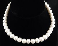 "10mm-11mm 16"" Genuine Natural White Pearl & Sterling Silver Necklace"