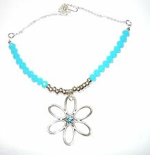SPARKLY FACETTED OPAQUE TURQOUISE BLUE GLASS BEAD NECKLACE WITH DAISY DROP