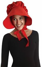 Red Pilgrim Lady Bonnet Colonial Quaker Hat Cap Adult Costume Accessory
