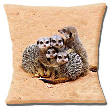 "NEW Novelty Cute Meerkat Family Wildlife Group Hug 16"" Pillow Cushion Cover"