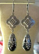 VINTAGE EARRINGS DECO VICTORIAN STYLE STAMPED SILVER CZECH GLASS BLACK * WOW