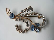 Vintage 40/50s Stepford-wife Style Blue & Clear Diamante Brooch