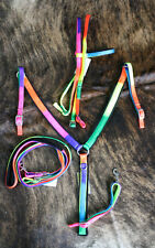 Chasing Rainbow Nylon Headstall, Rein and Breast Collar Set. New Horse Tack.