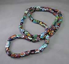 Art Deco Millefiori Glass Necklace unusual Rectangular Beads Long strand Flapper