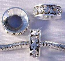 ♥ Spacer Bead Strass Rondell für European Armband weiß silber ♥ PBS012