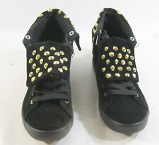 CUTE TO THE CORE BLACK FLAT LACE UP GOLD SPIKES SEXY ANKLE BOOT size 6