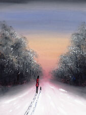 SARAH FEATHERSTONE, ORIGINAL ART SIGNED WATERCOLOUR PAINTING, Winter Sky, Walk