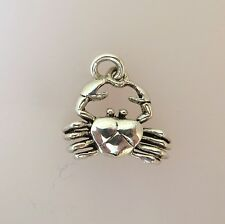 .925 Sterling Silver Large claws CRAB CHARM NEW Ocean Beach Pendant 925 NT06