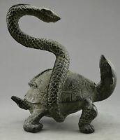 Collectible Decorated Old Handwork Bronze Carved Snake Tortoise Exorcism Statue