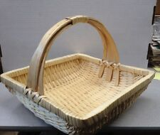 Wicker Rattan Square Sturdy Basket With Handle Decor Display Storage Flowers Etc