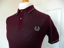 Fred Perry Laurel Wreath Maroon Textured Knit Polo - S - Mod Ska Scooter Skins