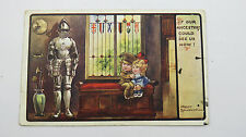 1916 Fred Spurgin Comic Postcard WW1 Boy Soldier Medieval Suit Of Armour Weapons