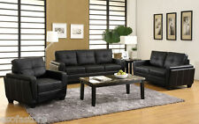 Contemporary 3pc Living Room Furniture Black Leatherette Sofa Loveseat Chair Set