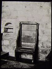 Glass Magic Lantern Slide JARROW CHURCH BEDES CHAIR NO3 C1890 PHOTO ENGLAND