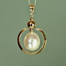 14k solid yellow gold 10x9mm natural freshwater white pearl beautiful pendant