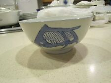 Vintage Chinese Hand Painted Porcelain Blue & White Koi Fish Serving Bowl