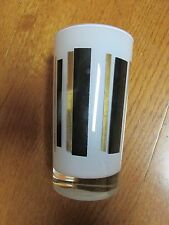VINTAGE DRINKING GLASS GOLD BLACK STRIPE
