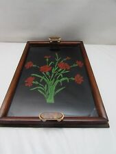 Art Deco Mahogany Twin Handled Tray Floral Decoration Bake Lite Handles