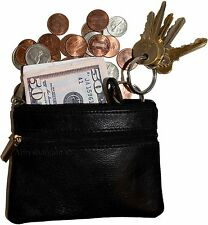 New Leather change purse Black zip coin case 3 pocket purse w/key ring unbranded