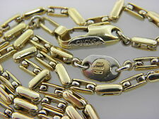 "VINTAGE SAURO ITALY SOLID 18K YELLOW  WHITE GOLD CHAIN NECKLACE 18"" 35.1g"
