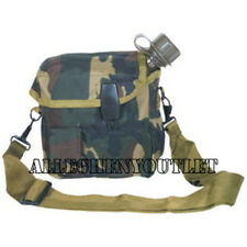 US Military 2 QUART COLLAPSIBLE WATER CANTEEN OD + 2QT WOODLAND COVER POUCH NEW
