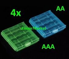 4 x AA AAA battery storage case holder box hard plastic rechargeable batteries