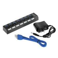 7Ports USB 3.0 Hub with On/Off Switch+EU/US AC Power Adapter for PC Laptop LY