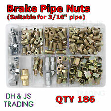 Assorted Box of Brake Pipe Nuts + Connectors (Most Popular) Qty 186 Copper