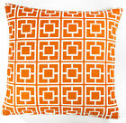 Orange & Cream 17 inch Luxury Chenille Squares Geometric Cushion Cover Ren