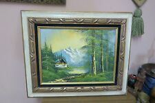 """Vintage Oil on Canvas Painting Signed 12"""" x 16"""" - 18"""" x 22"""" Log Cabin Mountains"""