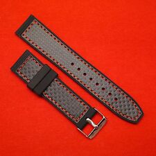22mm Carbon Fibre Fabric Top Red Stitching Silicone Replacement Strap for All