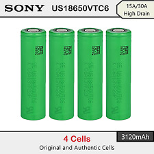 4 x Sony US18650VTC6 3120mAh - 15A/30A High Drain Rechargeable Lion Battery 3.7V