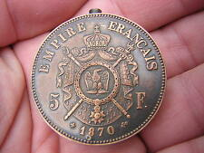UNUSUAL VINTAGE 1870 FRENCH 5 FRANCS COIN DESIGN LIGHTER