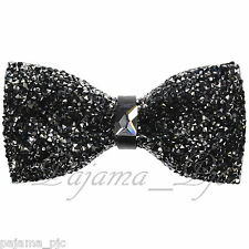 Fashion Black Diamonds Glitters Rhinstone TUXEDO BOW TIE Bowtie Wedding Party