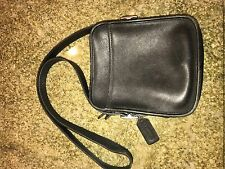 Black Leather Coach Cross Body Camera Bag Purse