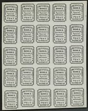 #87L47 BLACK THICK LAID PAPER 1872 IMPERF HUSSEY'S POST SHEET OF 25 BS4248