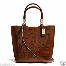 Coach Bag F28291 MADISON CROC EMBOSSED MINI NORTH/SOUTH TOTE Brown #COD Paypal