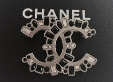 CHANEL SILVER METAL CC LOGO 2 TONE CRYSTALS  PIN BROOCH