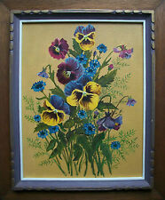 Oil Painting on Panel - Botanical Still Life W/ Pansies - Framed - Canada - 1974