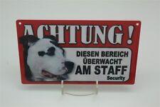 AM STAFF- Tierwarnschild - VORSICHT  Warnschild 20x12 cm Hund Schild 2 Amstaff
