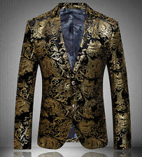 Mens Individuality Printed Gold suit short jacket coat outwear trench