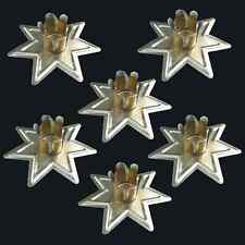 """Set of 6 Gold Faery Star Chime Candle Holders 4"""" Mini Taper Holder Six Pack"""