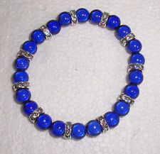 Blue Miracle Bead Stretch Bracelet with Clear Rondelles Fashion Jools Handmade