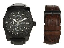 NEW GUESS CARBON FIBER MEN WATCH SS BLACK BROWN LEATHER STRAP DAY DATE U0079G2
