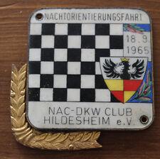 2 alte Autoplaketten 1965  DKW Club Hildesheim / Goslar NAC