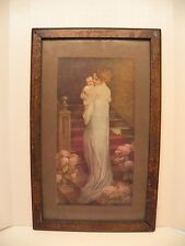 Antique Zula Kenyon Victorian Early 1900's Mother and Child Picture Oak Frame