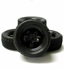 9028 1/10 Scale RC Car Off Road 5 Spoke Wheel and Rally Tread Tyre Black x 4 V3